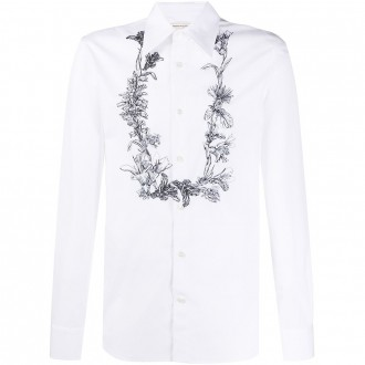 White Shirt With Flower Garland Embroidery