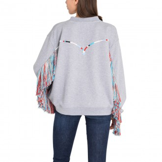 Embroidered sweatshirt with fringes