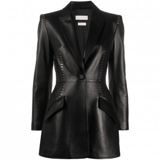 Black Leather Jacket With Metallic Details