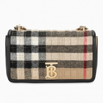 Small Lola Bag In Cashmere With Tartan Motif