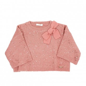 Short Sweater With Sequins And Bow