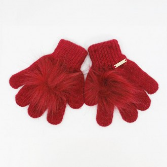 Gloves With Pompon Color Red