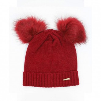 Hat With Double Pompom Red Color