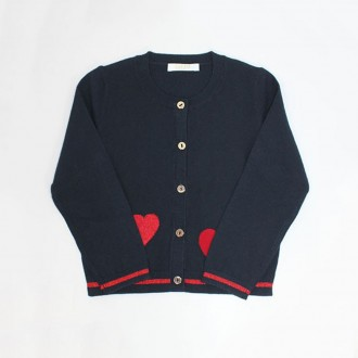 Cardigan With Hearts Print In Lurex