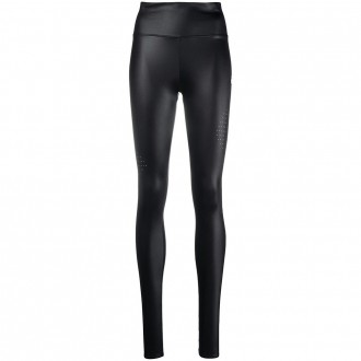 Leggings In Black Stretch Technical Fabric With Cut-out Detail
