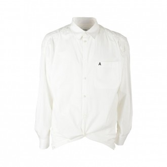White Rounded Hem Logo Shirt