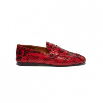 Fezzy snakeskin-effect leather penny loafers
