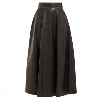 High-rise leather midi skirt