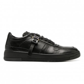 Buckle Sneakers In Black Leather