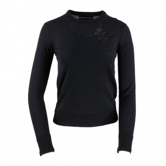 Crewneck Sweater In Black Wool