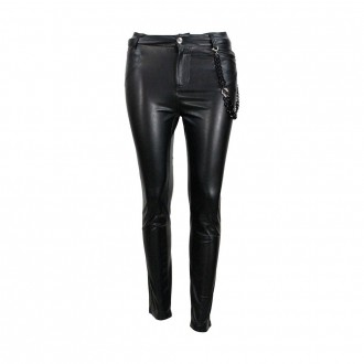 Trousers In Faux Leather With Black Chain