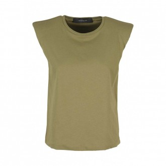 Military Green Short Sleeve Top with Shoulder Strap