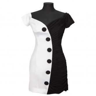 White & Black Viscose Dress With Bare Shoulders