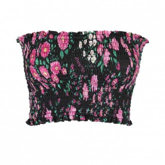 Cropped Top With Curled Floral Print Black Fuxia