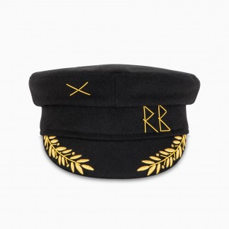 Baker Boy Hat With Gold Embroidery