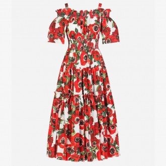 Anemoni printed cotton long dress