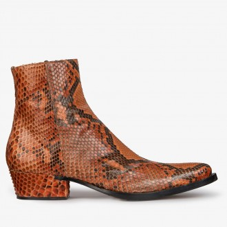 Python-shaped ankle boots