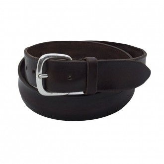 Belt In Bull Soft Leather Dark Brown