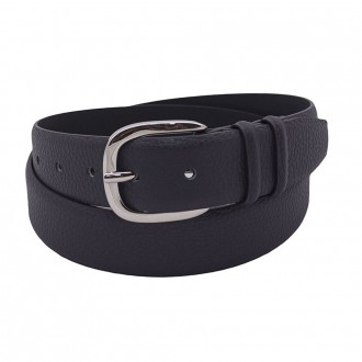 Belt In Micron Leather Charcoal Color
