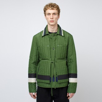 Panelled quilted worker jacket