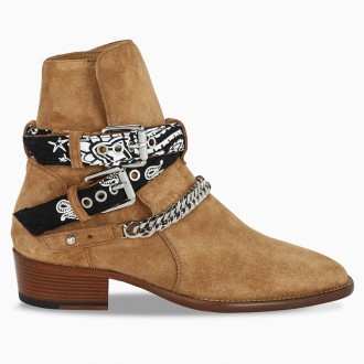 Bandana Buckle Boot In Brown Suede
