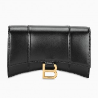 Hourglass Black Wallet With Chain