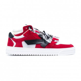 Off-court Sneakers In White Leather And Red Velvet