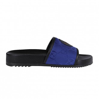 Slippers In Black And Blue Leather