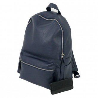 Set City Micron Backpack In Leather Blue Color