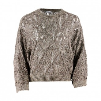 Sweater With Sequins In Linen And Cotton Brown