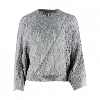 Sweater With Sequins In Linen And Cotton Gray