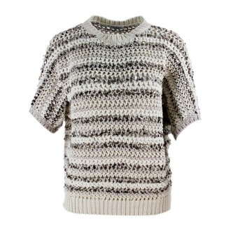 Short Sleeve Sweater With Sequins Beige Color
