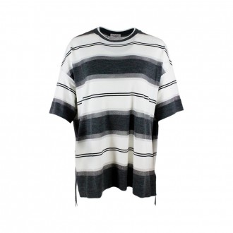 Striped Sweater With Lurex With White / Gray