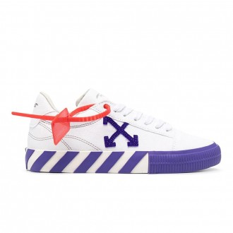 White And Purple Vulcanized Sneakers