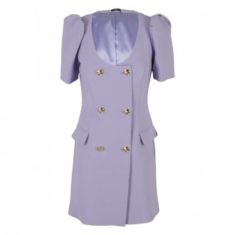 Lavender Dress Gold Jewel Buttons