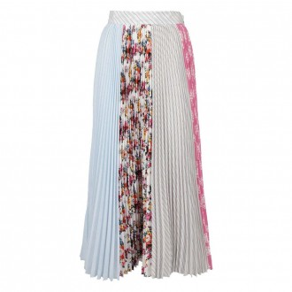 Multicolor Patch Pleated Skirt