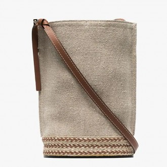 linen and leather bucket bag