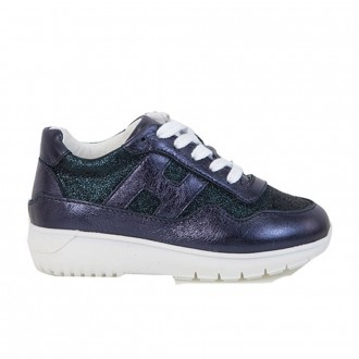 Interctive Leather Sneakers With Glitter Inserts