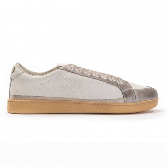 Cream Gold Leather Sneakers