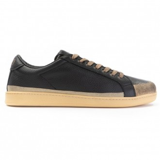 Black And Gold Leather Sneakers