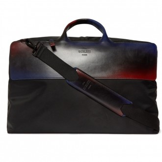 Cube shell and leather holdall