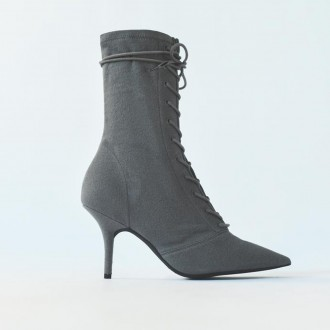 Stretch lace-up ankle boot