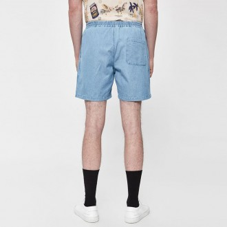Padang pull-on short in bleached denim