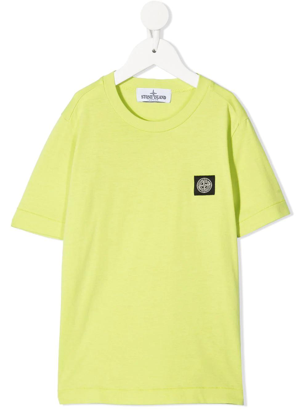 STONE ISLAND JUNIOR Yellow cotton logo-patch T-shirt