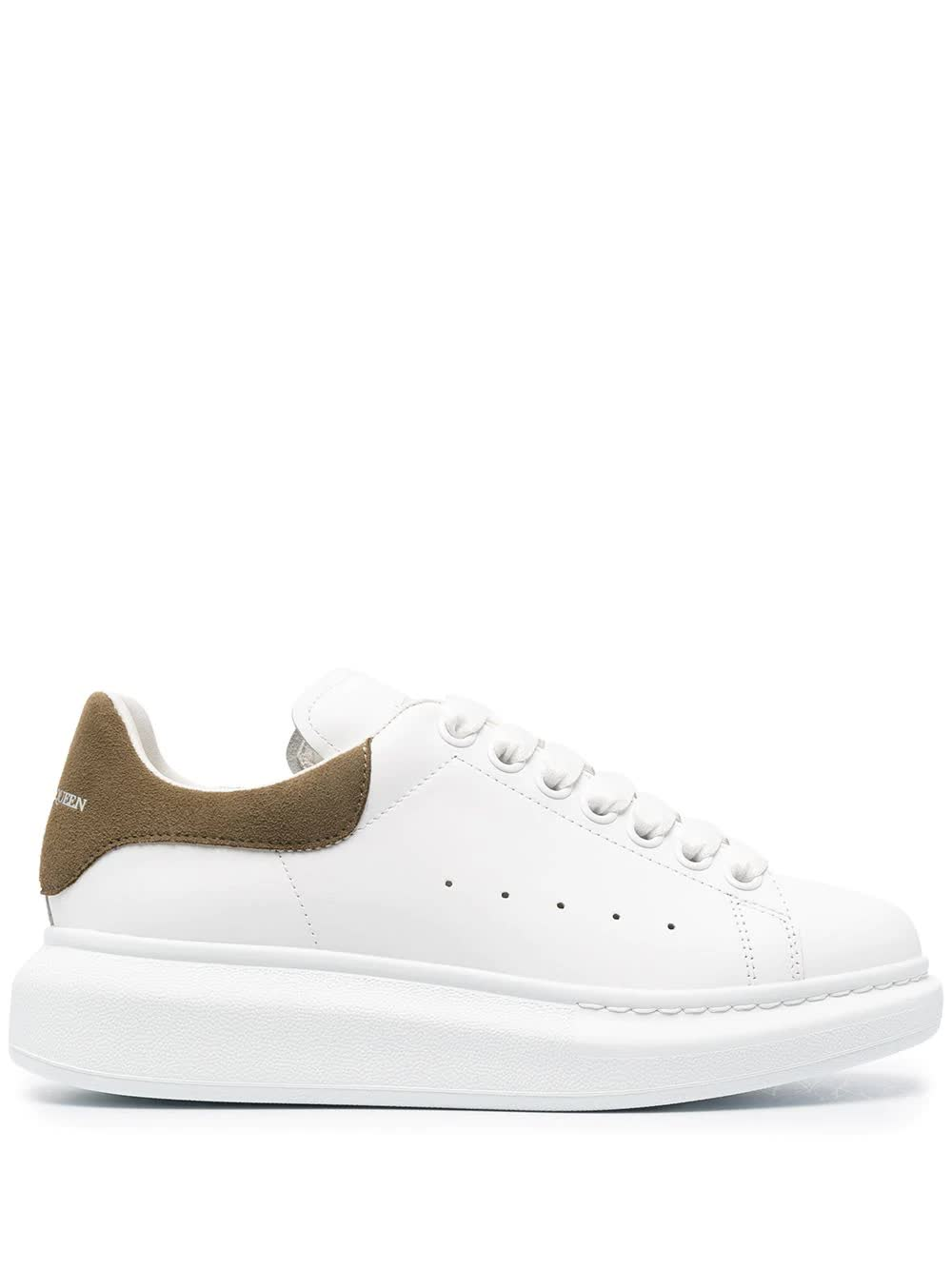ALEXANDER MCQUEEN Woman White And Khaki Green Oversize Sneakers