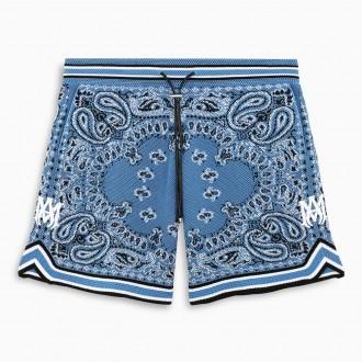 Blue Printed Basketball Bermuda Shorts