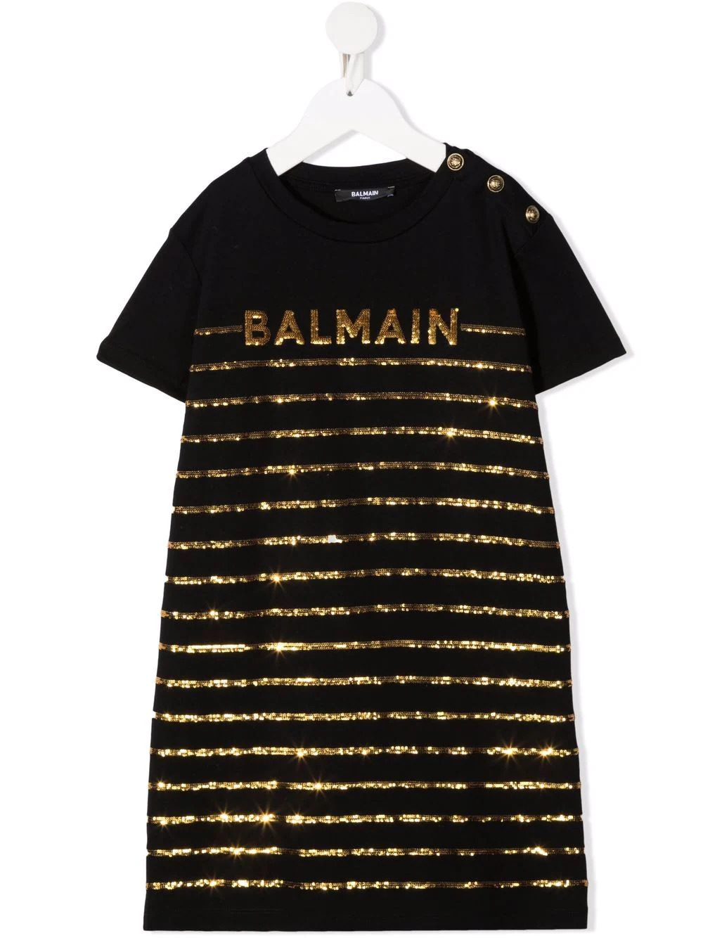 BALMAIN KIDS Black Short Dress With Sequined Logo and Stripe Pattern