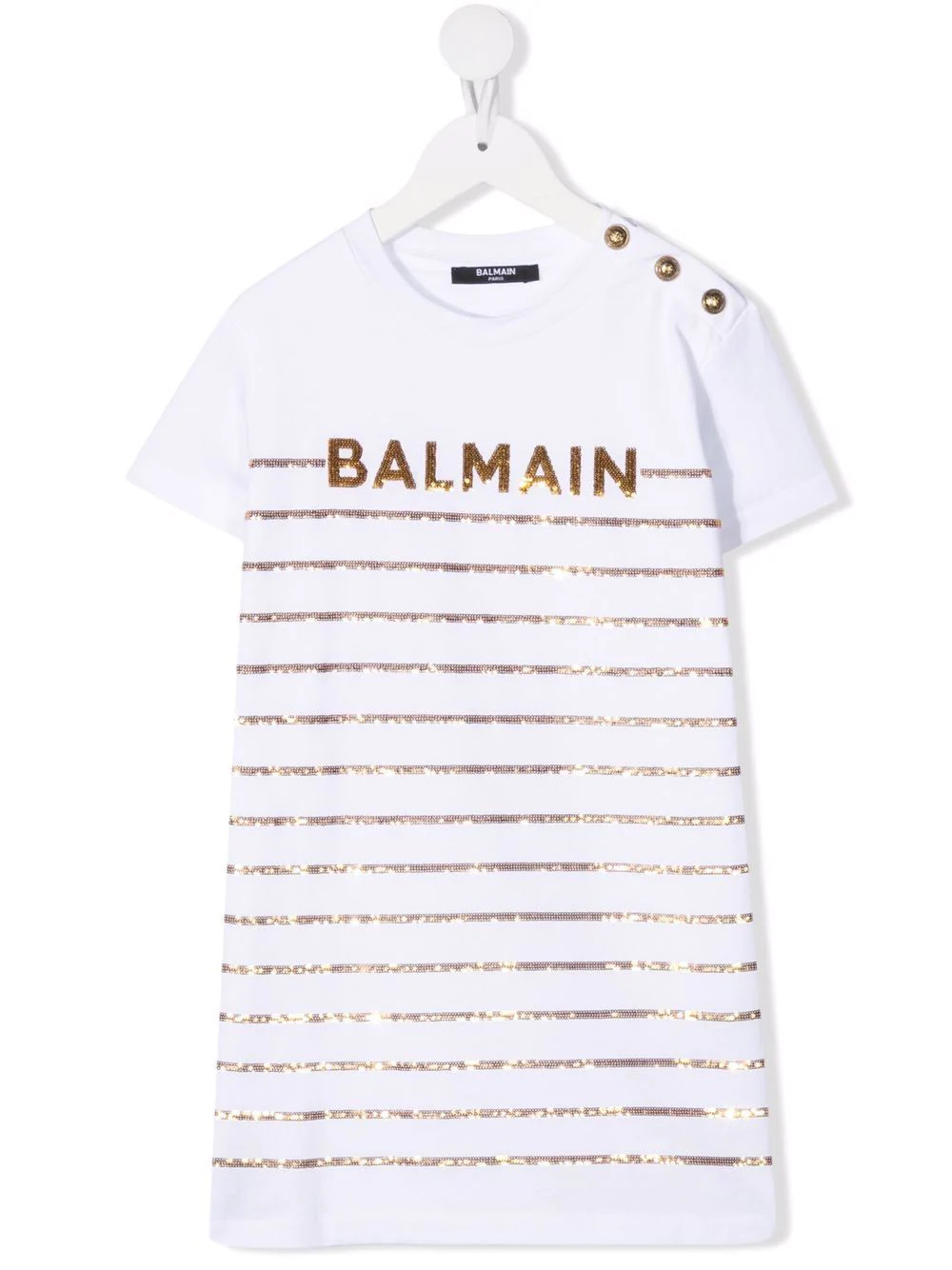 BALMAIN KIDS White Short Dress With Sequined Logo and Stripe Pattern