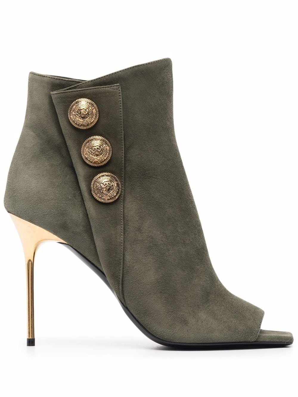 BALMAIN Military Green Suede Ankle Boot With Golden Embossed Buttons