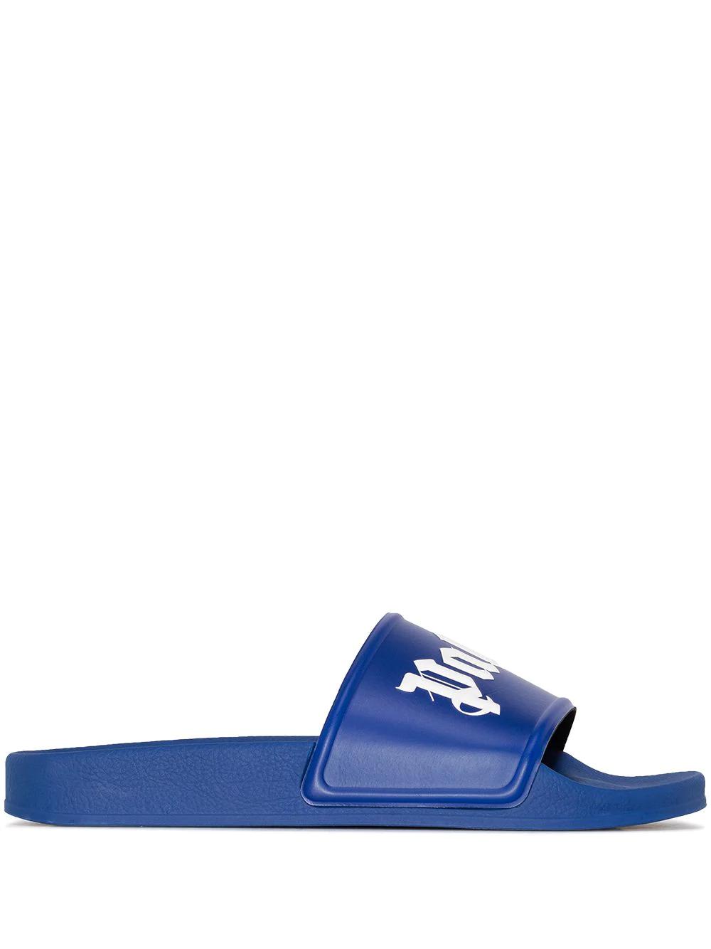 PALM ANGELS Man Blue Slipper With White Logo